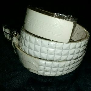 "SPY - Vandal White Studded Belt 32""-35"" - NWT"